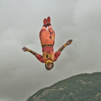 Weekly Photo Challenge : Up (Stuntman performing arial show)